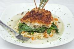 Dîner gastronome de poissons d'Orata Image stock