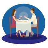 Dîner romantique de famille Dîner de valentines Illustration d'isolement par vecteur plat illustration de vecteur