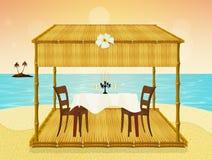 Dîner romantique sur la plage de Th Photos stock