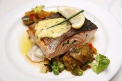 Dîner saumoné gastronome Photographie stock libre de droits