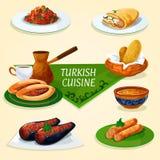 Dîner turc de cuisine avec le dessert, icône de café Photo libre de droits