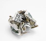 Dólar amarrotado sobre Imagem de Stock
