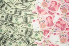 Dólar americano contra China yuan Fotografía de archivo libre de regalías