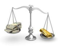 Dólar americano contra el oro Imágenes de archivo libres de regalías