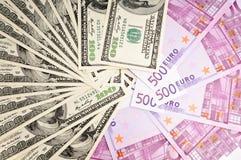 Dólar americano Contra o Euro Imagem de Stock Royalty Free