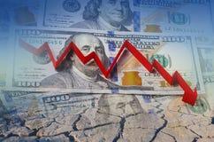 Dólar americano, crisis financiera en la flecha roja fotos de archivo