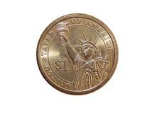 Dólar americano da moeda uma a estátua da liberdade Fotografia de Stock Royalty Free