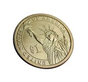 Dólar americano da moeda uma a estátua da liberdade Fotos de Stock Royalty Free