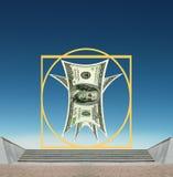 Dólar americano de Vitruvian Como o símbolo do sucesso de negócio Fotos de Stock Royalty Free