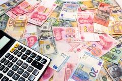 Dólar americano do fundo do dinheiro do mundo, dólar australiano, chinês Yu Foto de Stock