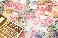 Dólar americano do fundo do dinheiro do mundo, dólar australiano, chinês Yu Fotos de Stock Royalty Free
