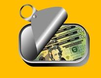 Dólar americano en sardina pueden Imagenes de archivo