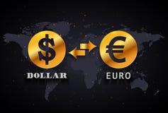 Dólar americano a la plantilla infographic euro del intercambio de moneda en fondo del mapa del mundo Imágenes de archivo libres de regalías