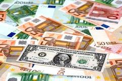 Dólar & euro Foto de Stock Royalty Free