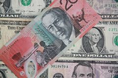 Dólar australiano contra dólar de EE. UU. Imagen de archivo