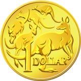 Dólar australiano del oro del dinero con el kangaro Fotografía de archivo libre de regalías