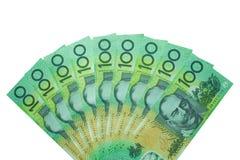 Dólar australiano, dinheiro de Austrália 100 dólares de pilha das cédulas no fundo branco Fotografia de Stock Royalty Free