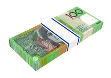 Dólar australiano isolado no fundo branco. Fotografia de Stock