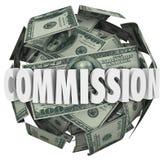 Dólar Bill Ball Sphere de la palabra ciento de la Comisión Foto de archivo