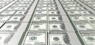 Dólar Bill Bundles Laid Out Fotografía de archivo