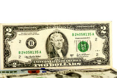 Dólar Bill de dos Imagen de archivo libre de regalías