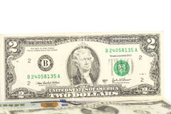 Dólar Bill de dos Foto de archivo
