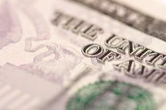 Dólar Bill do sumário cinco Imagens de Stock