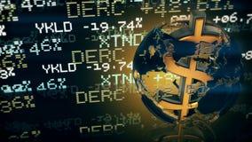 Dólar como a linha central do mundo Animação do laço ilustração royalty free