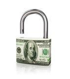 Dólar como um castelo em um fundo branco isolado Fotos de Stock