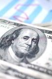 Dólar con el gráfico financiero fotografía de archivo libre de regalías