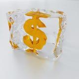 Dólar congelado Imagem de Stock Royalty Free