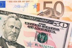 Dólar contra euro Fotos de archivo libres de regalías