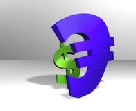 Dólar contra lucha euro Fotos de archivo