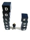 Dólar contra o euro Fotografia de Stock