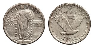 Dólar cuarto de los E.E.U.U. moneda de plata 1918 de 25 centavos imagen de archivo