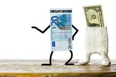 Dólar débil del concepto, euro fuerte Imágenes de archivo libres de regalías