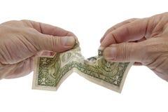Dólar débil, depreciación de dinero en circulación Fotos de archivo libres de regalías
