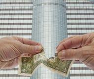 Dólar débil, depreciación de dinero en circulación Foto de archivo