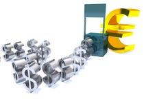 Dólar débil euro fuerte Imagen de archivo libre de regalías