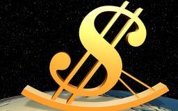 Dólar da cadeira fácil no mundo Imagem de Stock