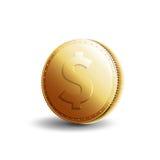 Dólar da moeda de ouro Imagem de Stock