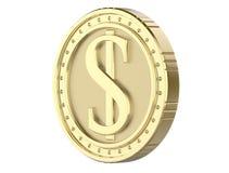 dólar da moeda de ouro 3d, com uma imagem de uma pilha do dólar 3D rendem, isolado no fundo branco Imagem de Stock Royalty Free