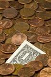 Dólar das moedas de um centavo Imagens de Stock Royalty Free
