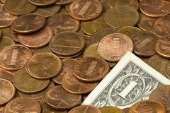 Dólar das moedas de um centavo Fotografia de Stock