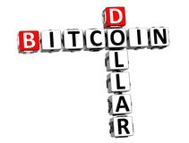 dólar de Bitcoin das palavras cruzadas 3D sobre o fundo branco Foto de Stock Royalty Free