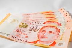 Dólar de Cingapura, cédula Singapura no fundo branco fotografia de stock royalty free