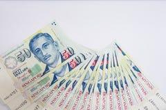 Dólar de Cingapura, cédula Singapura no isolado branco do fundo Fotos de Stock Royalty Free