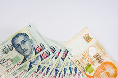 Dólar de Cingapura, cédula Singapura no isolado branco do fundo Imagem de Stock Royalty Free