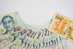 Dólar de Cingapura, cédula Singapura no isolado branco do fundo Fotografia de Stock