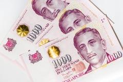 Dólar de Cingapura isolado, cédula Singapura no backgroun branco fotografia de stock royalty free
